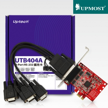 登昌恆 Uptech UTB404A 4-Port RS-232 PCI-E 4埠 DB-9pin ...