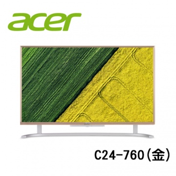 ACER 宏碁 Aspire C24-760 (金) AIO 液晶電腦 (CPU i3 6100U/8G RAM/128G SSD+1TB HDD/WINDOWS 10)