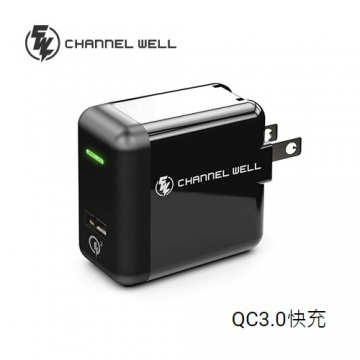 CHANNEL WELL QC3.0 快速旅充 充電器 黑