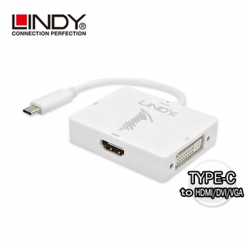 LINDY 43233 - 主動式 USB3.1 TYPE-C TO HDMI/DVI/VGA 三合一轉接盒