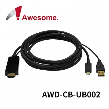 (終身保固) Awesome Type-C to HDMI + USB Power Cable 4K...