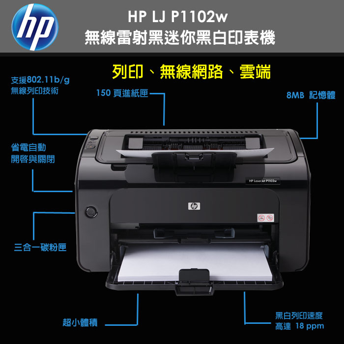 hp 惠普 laserjet p1102w 无线 黑白 雷射印表机 (ce657a)