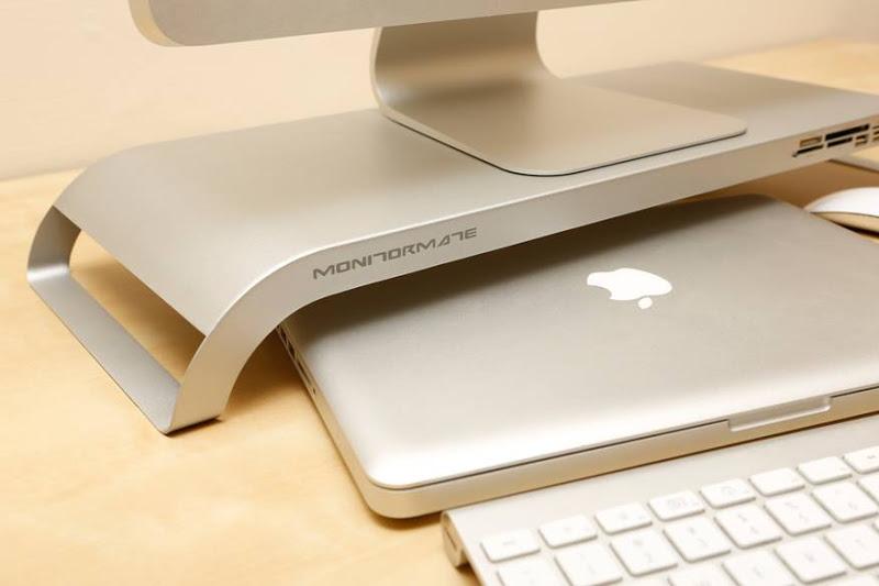 c510 多功能萤幕架 -键盘收纳 多合一读卡机 usb扩充 - 北欧银 ★ mac