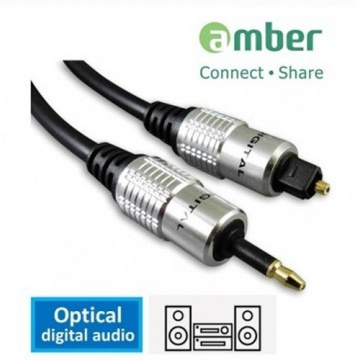 amber [Rock 系列] S/PDIF Optical Digital Audio Cable 光纖數位音 訊傳輸線 mini Toslink 3.5mm 對Toslink 1 米 支援MacP......