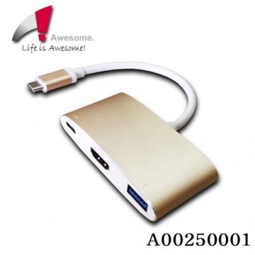 ★終身保固★ AWESOME USB3.1 Type-C to VGA/Type-C/USB3.0轉...