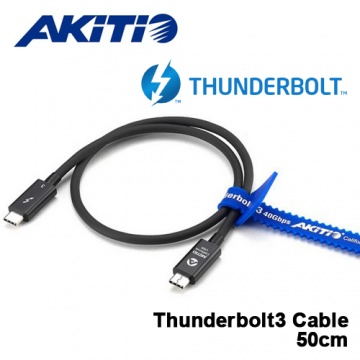 AKiTiO Thunderbolt 3 傳輸線 USB-C 40Gb/s 高速傳輸 黑色 / 50...