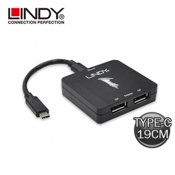 LINDY- USB TYPE-C TO 雙DISPLAYPORT MST轉接器 43232