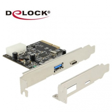 Delock PCI express 擴充卡10G USB 3.1 Gen 2 Type C 連接埠...