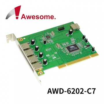 Awesome 7 Port USB 2.0 PCI 擴充卡 (AWD-6202-C7)