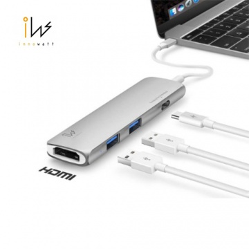 innowatt(銀)DOCK with HDMI USB 3.1 Type C Combo Hub