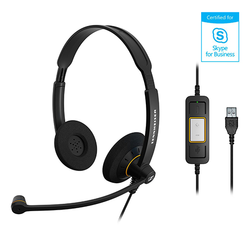 Sennheiser 聲海 SC 60 USB ML 雙耳耳麥 Skype for Business 認證