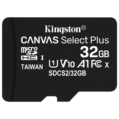 Kingston 金士頓 Canvas Select Plus microSDHC 32GB 記憶卡 含SD轉接卡 (SDCS2/32GB)