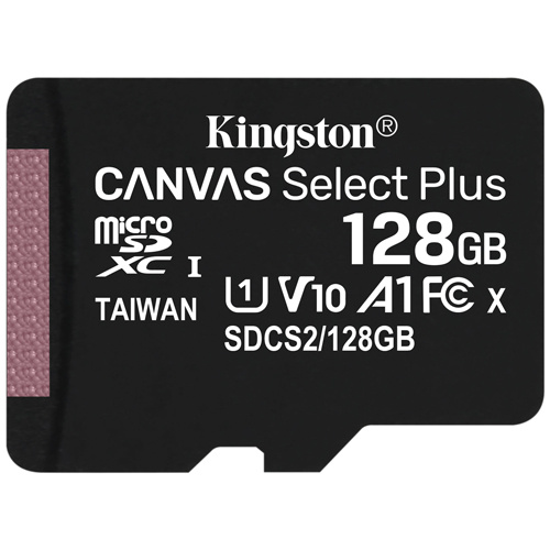 Kingston 金士頓 Canvas Select Plus microSDXC 128GB 記憶卡 含SD轉接卡 (SDCS2/128GB)