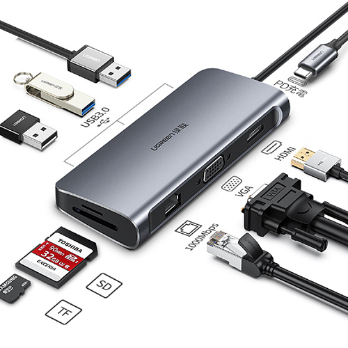 UGREEN 綠聯 4K HDMI/VGA/USB3.0/SD/TF/PD/GigaLAN網路卡 HUB 多功能轉接器 40873